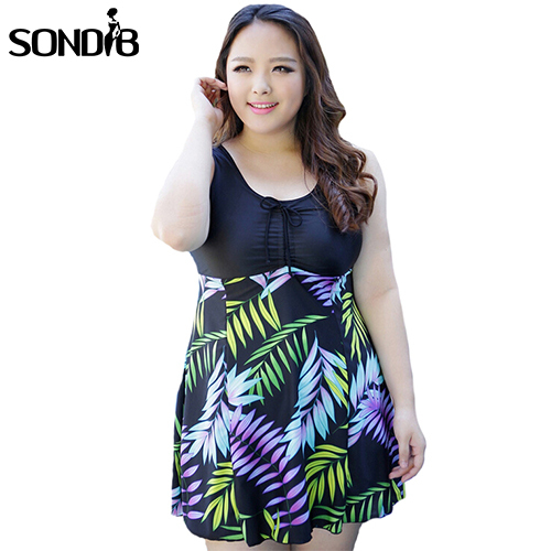 Plus Size Women One Piece Swimsuit Print Summer Dress Bandage Beach Cover Up Neoprene Swimwear With Bow 4XL 5XL 6XL 7XL