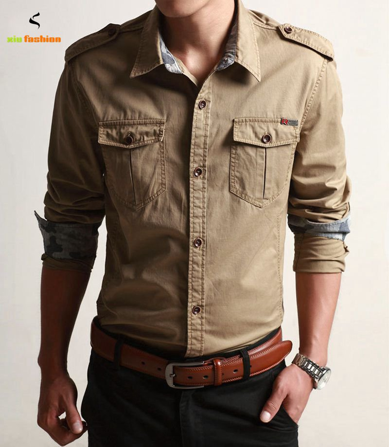 High quality military style mens shirts buy cheap military for Mens military style long sleeve shirts