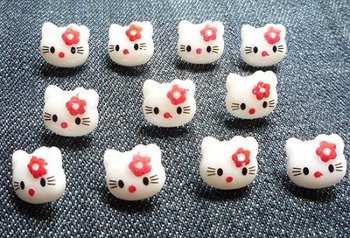 200 pc lovely children White hello Kitty Plastic Button