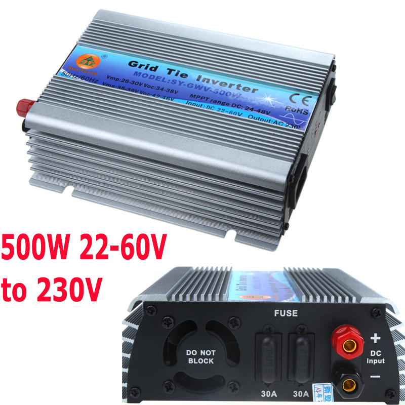 500W Watt Micro Grid Tie Inverter Accept DC 22-60V Solar Power Pure Sine Wave MPPT Voltage 24-48V AC Output 190-260VAC(China (Mainland))
