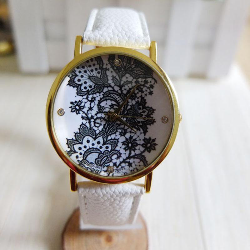 Гаджет  Free shipping mesh fashion Vintage watch women wristwatches quartz Women Ladies Watch Lace Printed Analog Leather Wrist Watch None Часы