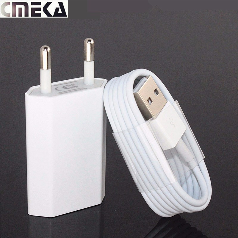 Cmeka Mobile Phone Charger For Iphone 7 5 5S 6 PLUS 6s USB Wall Chargers EU + USB Data Sync Cable For IOS 10 For iphone ipod(China (Mainland))