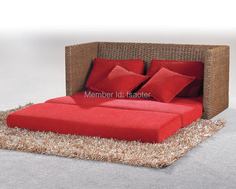 High quality comfortable outdoor rattan sofa bed hot sale for Wicker futon sofa bed