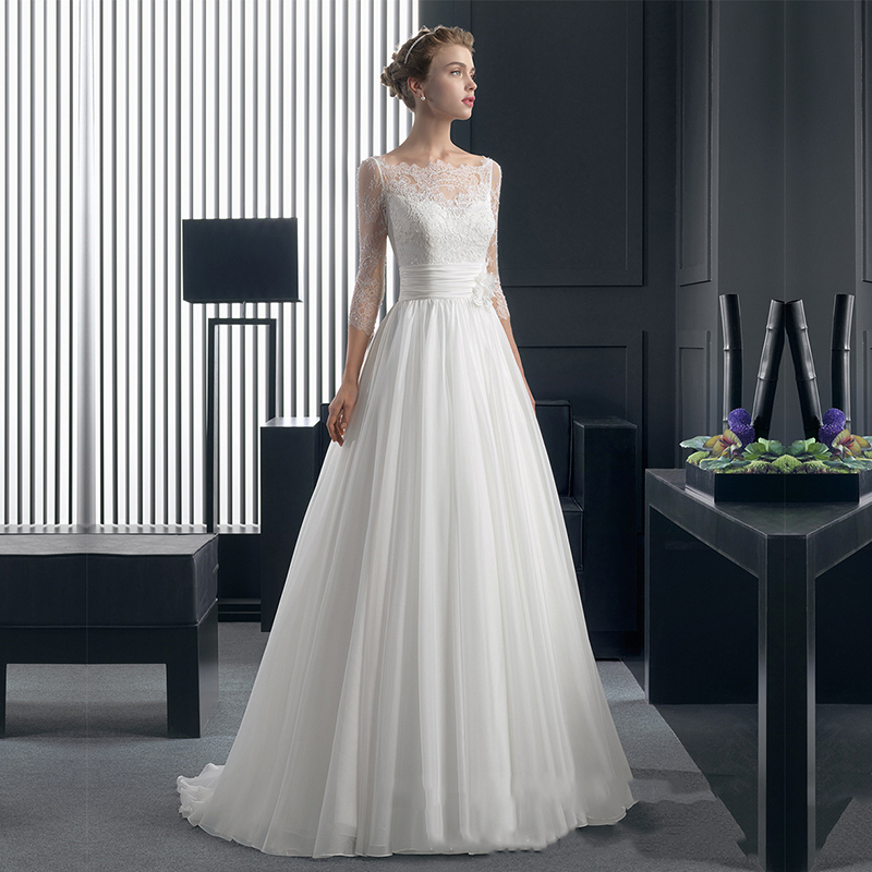 Lace Wedding Dresses 2015 Floor- length A-Line Romantic Bride Dress Cap Sleeve Three Quarter Custom Made vestidos de noiva WD05(China (Mainland))