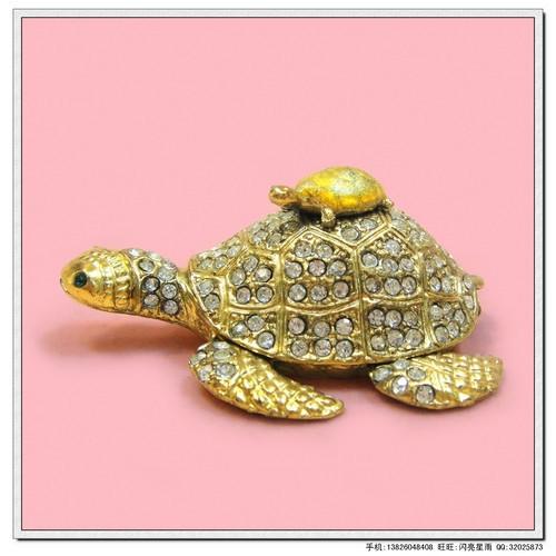 A metal crafts jewelry box diamond jewelry box small full rhinestone picture turtle - 2(China (Mainland))
