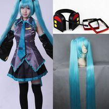 Школа аниме девочка Vocaloid хацунэ мику косплей платье полный комплект / шпилька / парик
