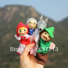 Wholesale - retail little red riding hood finger puppets a set of 4 plush wooden doll mother tell baby story(China (Mainland))