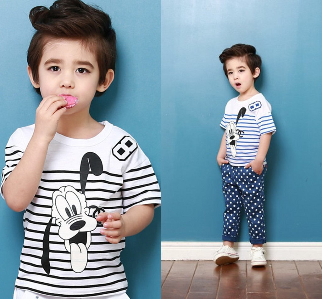 New Baby Kids Boys Cartoon Pet Dog Pluto Striped Tops T shirt 1 to 6Y AU(China (Mainland))