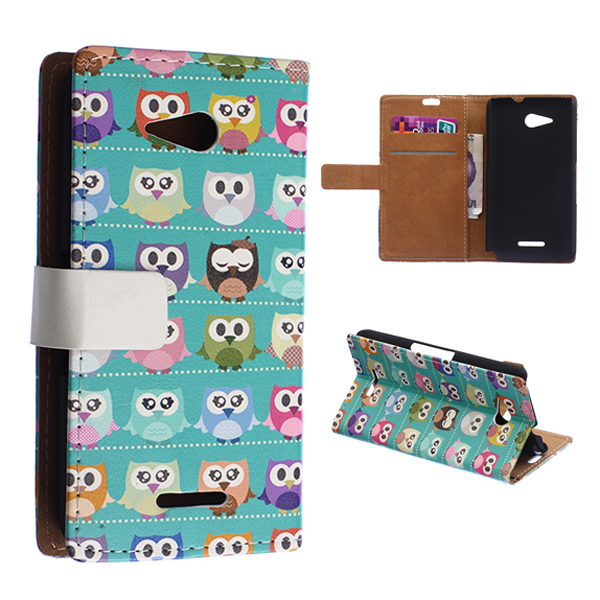 Owls Red Girl Heart Pattern Wallet Leather Case With Card Slots Stand Holder Flip Cover Case For Sony Xperia E4G(China (Mainland))