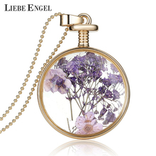 Romantic Collares Purple Dry Flowers Crystal Glass Pendant Necklace Long Gold Chain Necklace Summer Fine Jewerly For Women Gift(China (Mainland))
