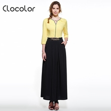 Clocolor 2016 summer maxi dress black party o-neck floor-length women polyester polyester long black dress maxi dress