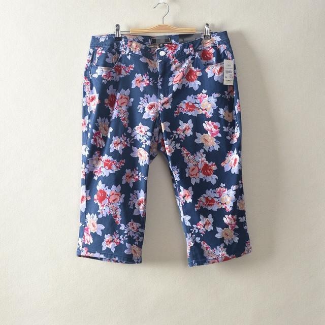 3XL-10XL Большой размер женщин цветочные жан / джинсовые капри хлопок свободного ...