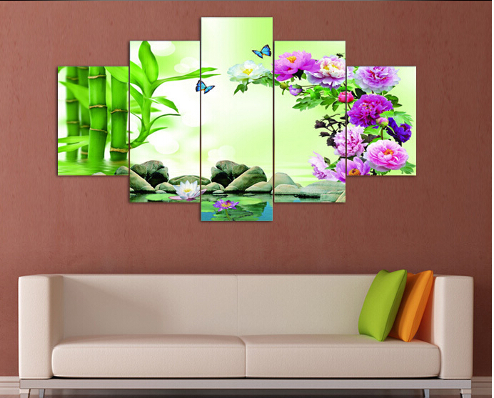 5 panel wall art stone bamboo peony flower home decoration for Decoration murale wish
