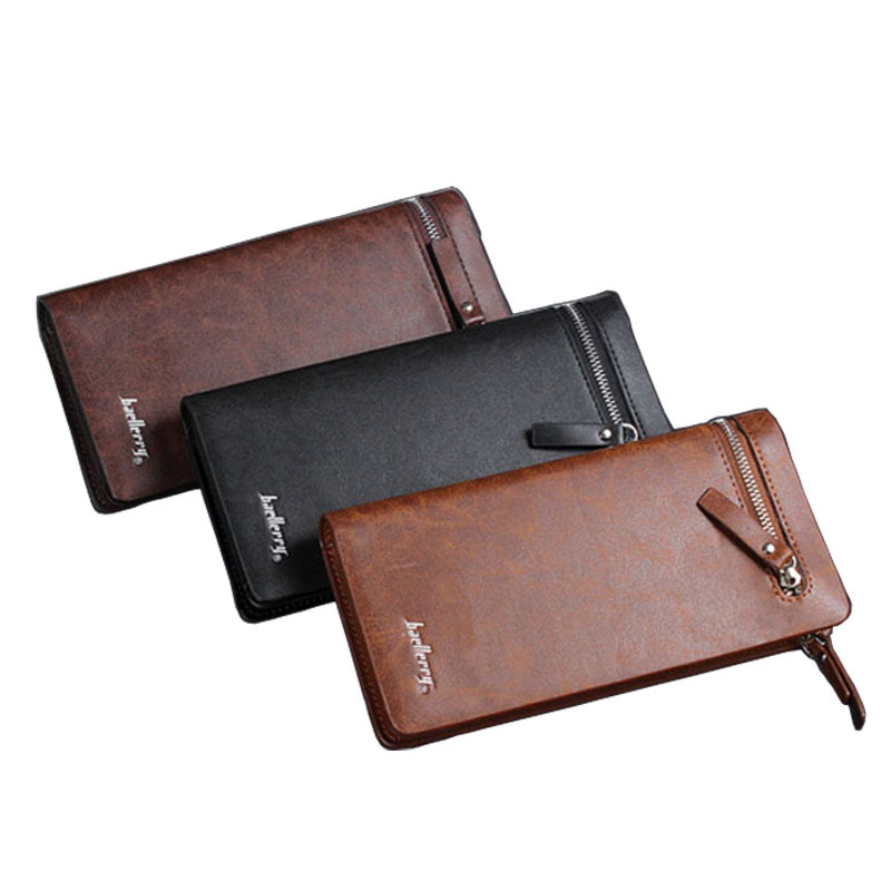 Baellerry brand new mens wallet leather genuine mobile pouch designs man wallet with card holder long wallet hot sale baelerry(China (Mainland))