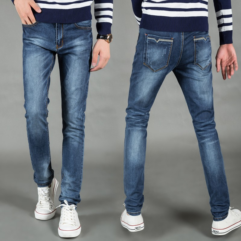 2016 men jeans slightly elastic skinny mens jeans long slim fit casual trousers denim pants men 28 – 36
