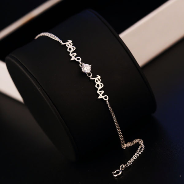 2015 New hot Fashion Luxury Charm Angel 925 Sterling Silver chain Crystal Bracelet High quality Rhinestone jewelry for women(China (Mainland))