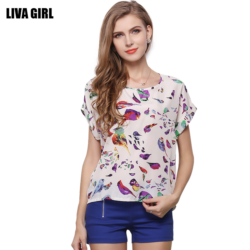 2016 foreign trade dress popularity explosion models of large U.S. Code coat Bird Print T-shirt short sleeved chiffon shirt(China (Mainland))