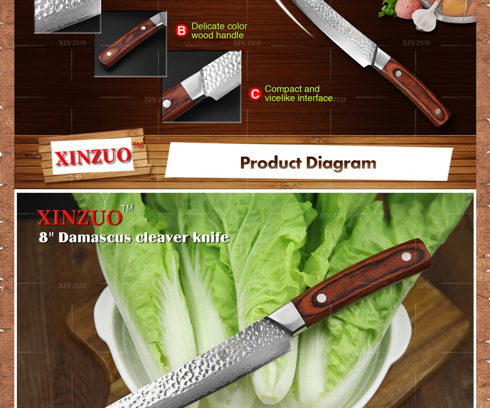 "Buy XINZUO 8 "" cleaver knife 67 layers Japanese Damascus kitchen knife kithcen too senior Sashimi knife wood handle free shipping cheap"