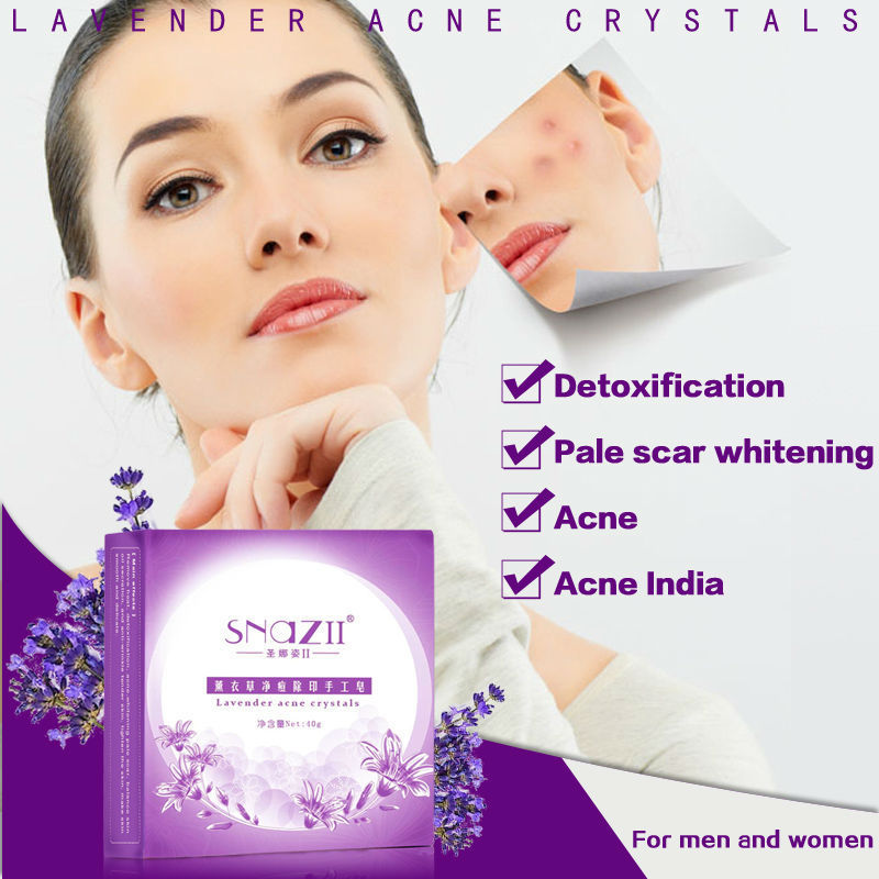 100%Original SnazII Remove ance Lavender handmade soap,Clean acne &amp;whitening pimple face,purify blain imprint scar,Free shipping<br><br>Aliexpress