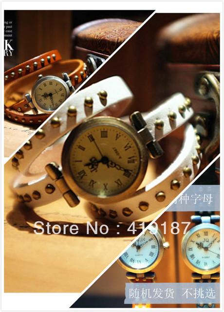 Wholesale 5pcs/lot ! 2013 style Cool fashion Punk Leather Wrap Women ladies Steel wristwatch High quality Free EMS Shipping!