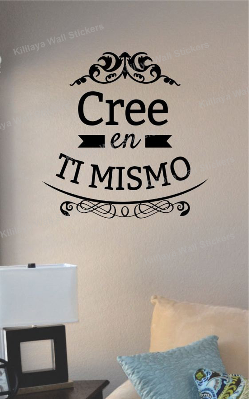 Ti Design Wall Art : Cree en ti mismo vinyl wall stickers spanish decals