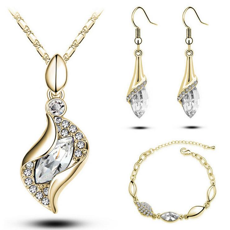 Top Quality Elegant Luxury Design New Fashion Rose Gold Plated Colorful Austrian Crystal Drop Jewelry Sets Women Gift NXH05091