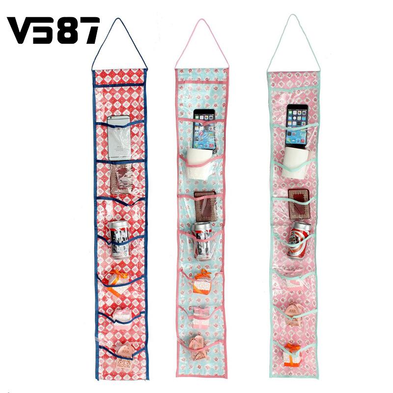 8 Pockets Hanging Storage Bag 2016 Waterproof Door Wall Mounted Home Sundries Clothing Jewelry Closet Organizer Bags(China (Mainland))