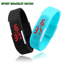 Hot Fashion Men Candy Silicone Strap Touch Square Dial Digital Bracelet LED Waterproof Sport Wrist Watch Women Kids Watches(China (Mainland))