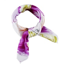 1 pcBrand New Satin Bohemian Flower Print Square Scarves Kerchief For Women New Design Apparel Accessories(China (Mainland))