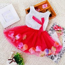 2016 Princess Dress Kids Girls Party Bow Flower Print Lace Dresses Children Clothing 5 Colors