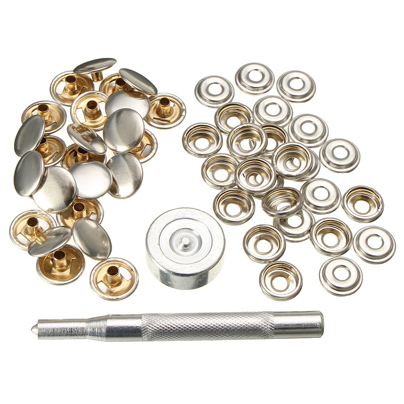 52pcs Snap Fastener Kits Cap Socket Stainless Steel Screws With Attaching Tool For Tent Boat Marine Canvas Cover(China (Mainland))