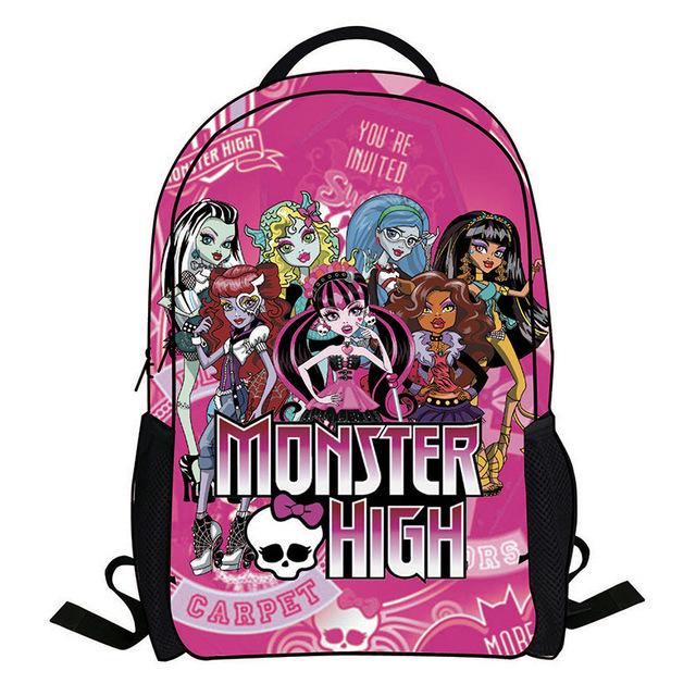 2016 мода monster high мешок детей школьные сумки для девочек мультфильм приспешников ...