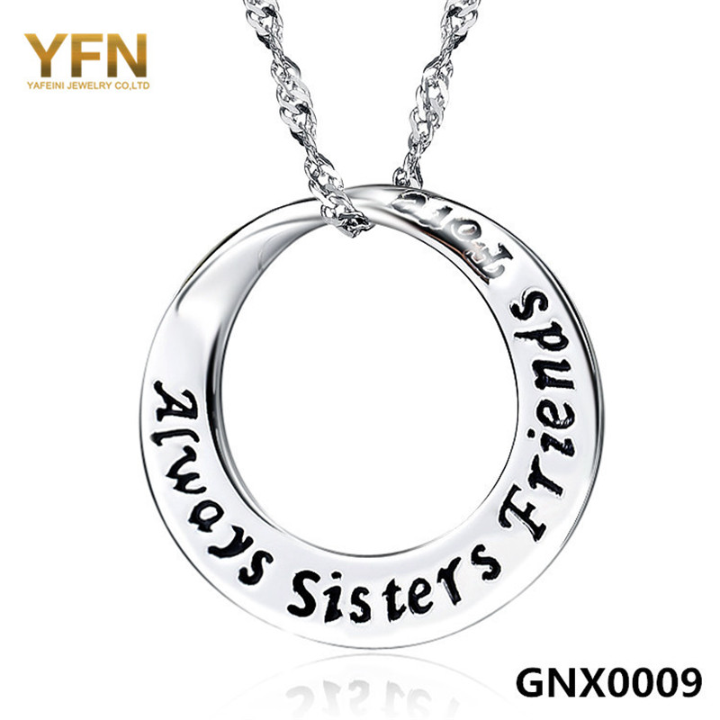 GNX0009 Fashion Jewelry Sisters Friends Love Necklace Wholesale 925 Sterling Silver Circle Pendant Necklace For Women(China (Mainland))