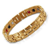 ריפוי מגנטי צמיד גברים/אישה 316L נירוסטה 3 בריאות אלמנטים (מגנטי, FIR, גרמניום) זהב צמיד יד שרשרת(China)