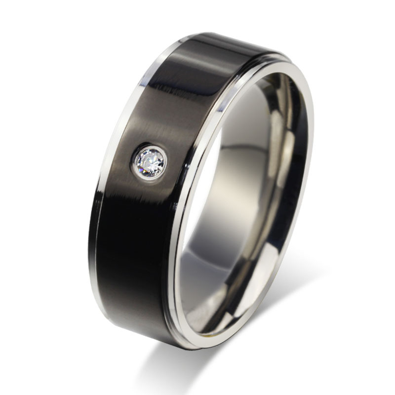 stainless steel classic mens wedding band with cz stone
