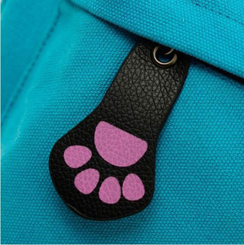 Pu Schoolbag New Cat Ear Canvas Backpack Men and Women Fashion Student Bag School Bag Leisure