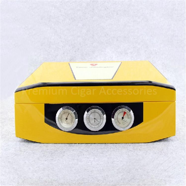 Cool Yellow Glossy Piano Finish Cedar Wood Cigar Humidor Cabinet Box with Hygrometer Humidifier(China (Mainland))