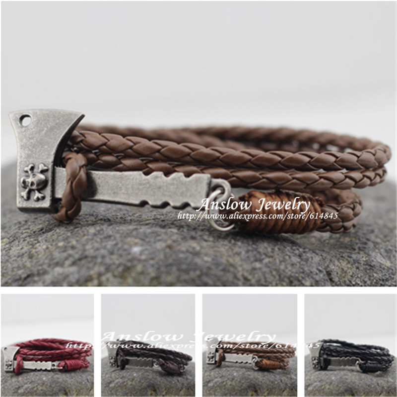 LOW0225LB 2015 New Design Vintage Personalized AX Hatchet Leather Bracelet For Women Men Accessories Birthday Gift Free Shipping(China (Mainland))