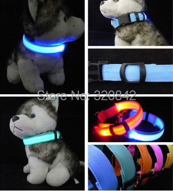 LED Nylon Pet Dog Collar Night Safety LED Light-up Flashing Glow In The Dark Electric LED Pets Cat & Dog Collar Free Shipping(China (Mainland))