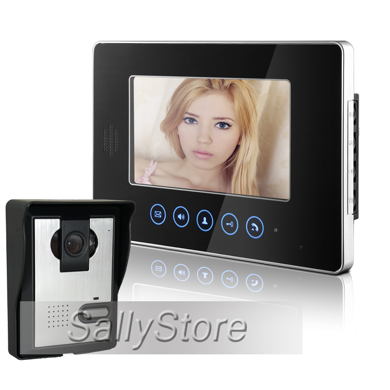 """FREE SHIPPING Cheap Touchkey 7"""" Video Intercom Apartment Home Door Phone System 1 Monitor 1 Doorbell Camera In Stock Wholesale(China (Mainland))"""