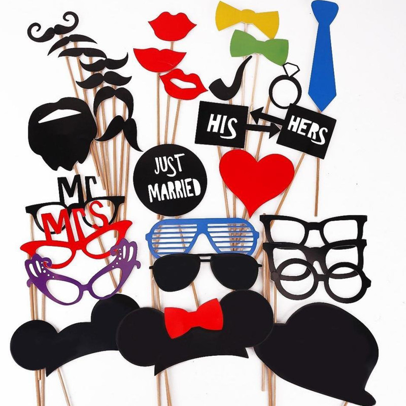 31pcs Photo Booth Wedding Decoration DIY Glasses Lip Fun Party Mask Birthday Kids Favor Photography Bridal Shower Event Supplies(China (Mainland))