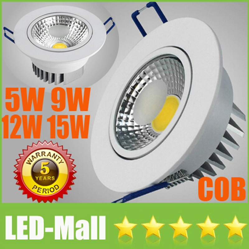 Retail CREE 5W 9W 12W 15W COB LED Downlights + Power Supply 110V 240V Tiltable Fixture Recessed Ceiling Down Lights Lamps CSA UL(China (Mainland))