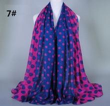 10 pcs/lot Free shipping 180*90 cms cotton designer scarf fashion shawl viscose scarves Printing Muslim hijab Dots(China (Mainland))