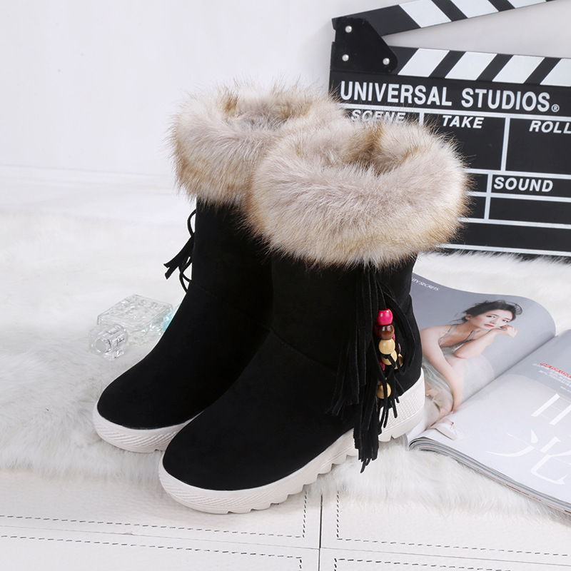 Winter warmth Nubuck leather Beading Round Toe boots,Womens boots in winter,Short women Shoes,Fashion Female Ankle Boots<br><br>Aliexpress