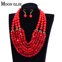2015 uk Hot selling 6 color Nigerian Wedding bridal African Beads Jewelry Set statement Big Necklace / Earrings for women(China (Mainland))