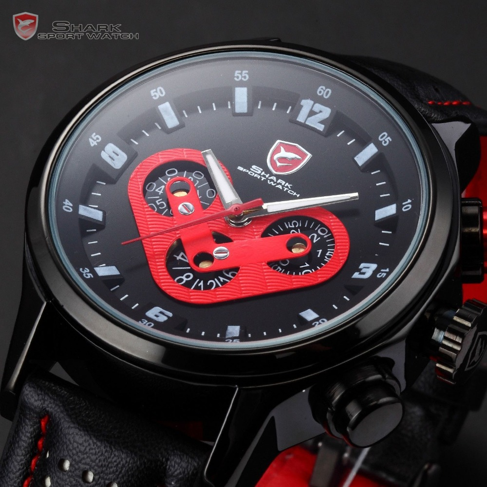 SHARK Date Day Display 6 Hands Stainless Steel Case Original Leather Band Black Red Quartz Wrist Men's Race Sports Watch / SH090(China (Mainland))