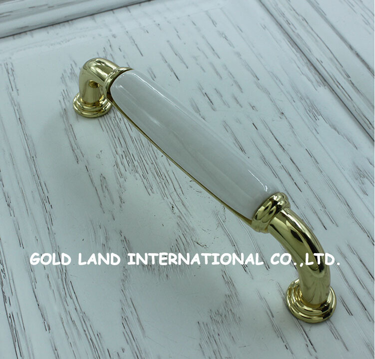 128mm white ceramic with zinc alloy gold color 18k drawer knob door cabinet cupboard kitchen pull handle home furniture hardware(China (Mainland))
