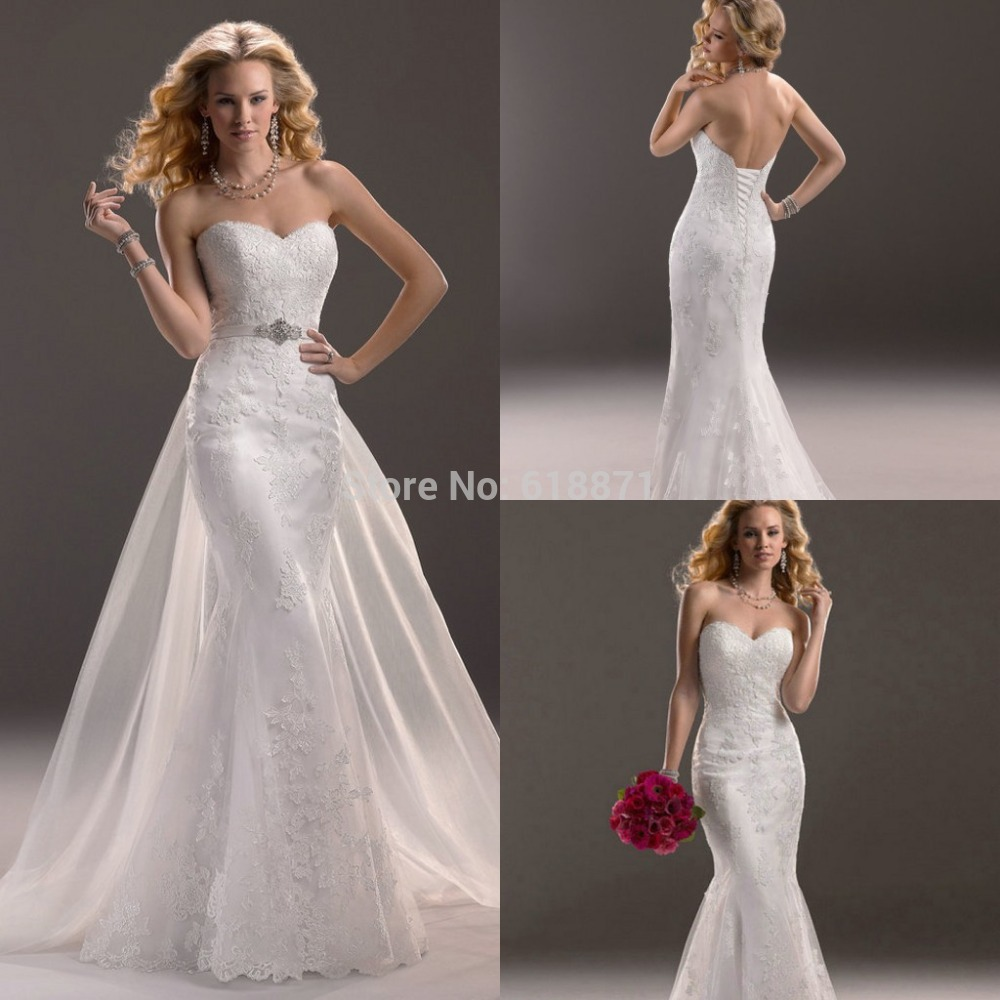 Mermaid wedding dresses with detachable trains flower for Mermaid wedding dress with train