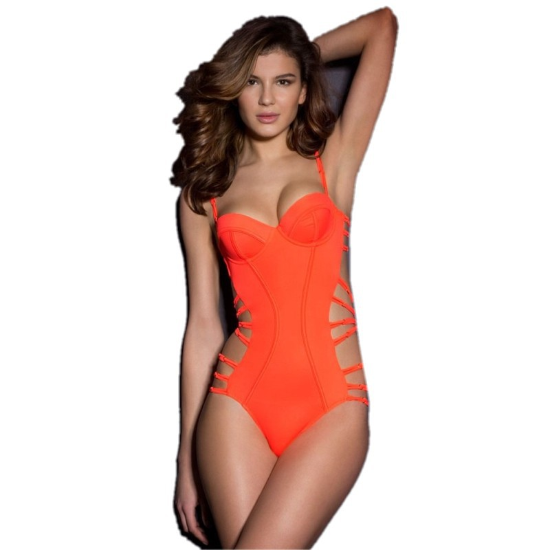 Sexy Neon Coral Strappy Wrap Push Up 1 Monokini one piece swimsuit 2015 New Sexy Summer Beach Swimming(China (Mainland))