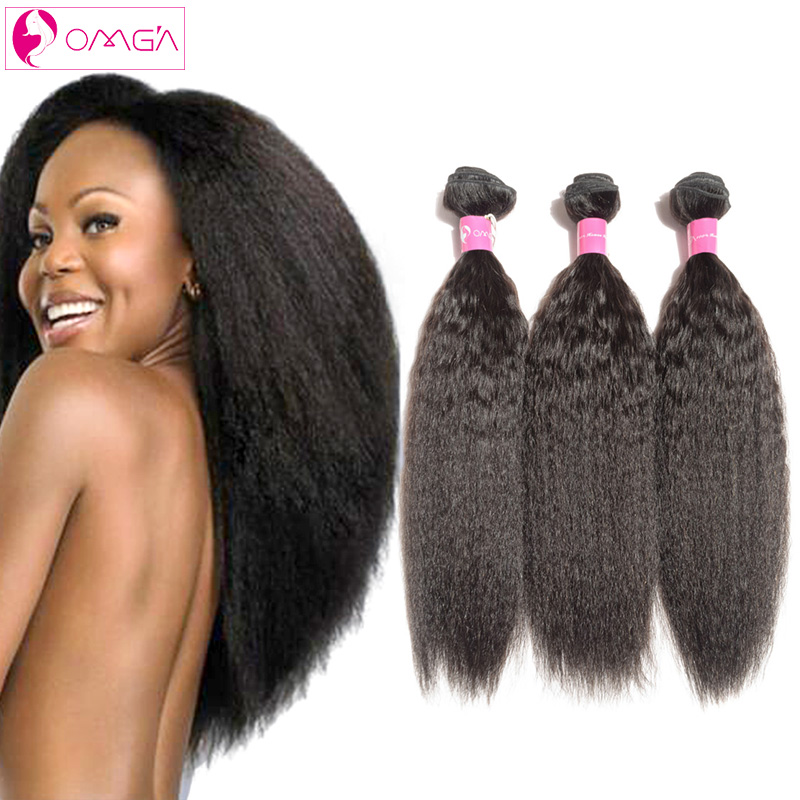 OMG Brazilian Virgin Hair Kinky Straight 4Bundles Human Hair Weaves Braziliane Coarse Yaki Straight Hair 7a Grade Freeshipping<br><br>Aliexpress